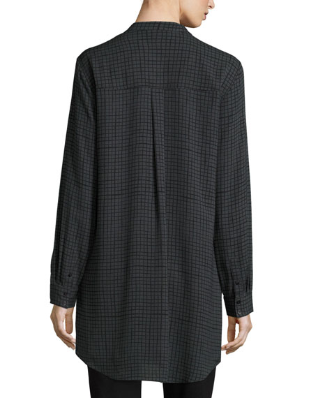 Grid-Printed Silk Crepe Mandarin Long Button-Front Shirt, Plus Size