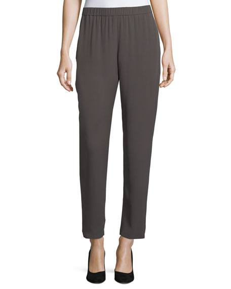 Eileen Fisher Slouchy Silk Georgette Ankle Pants, Petite