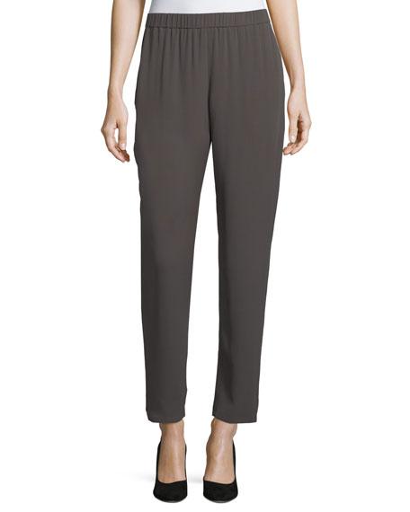 Eileen Fisher Slouchy Silk Georgette Ankle Pants