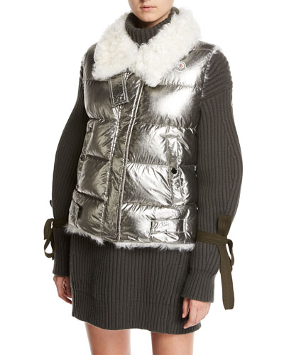 Kerria Metallic Fur-Collar Puffer Vest