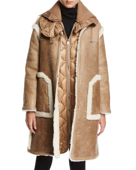Moncler Cotoneaster Leather Shearling-Trim Jacket w/ Quilted