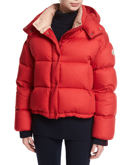 Moncler Paeonia Quilted Puffer Jacket, Red