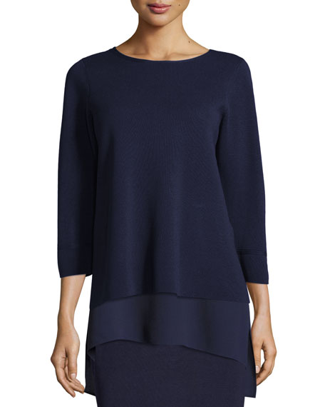 Eileen Fisher Interlock Bateau-Neck 3/4-Sleeve Boxy Top