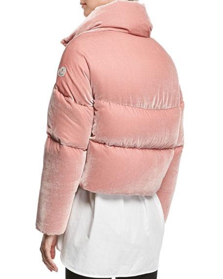Cercis Cropped Velvet Puffer Coat