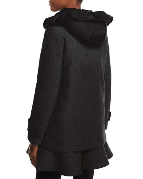 Phemia Puffer Vest w/ Peplum Hem, Gray