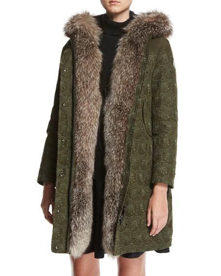 Veronika Embroidered Hooded Coat w/ Fur Trim