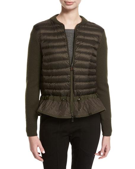 Moncler Magli Knit Puffer Combo Jacket w/ Peplum