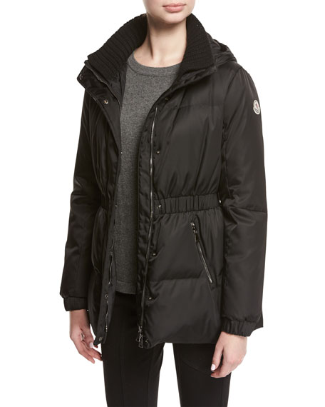 Fatsia Quilted Puffer Coat, Black