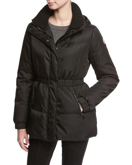 Moncler Fatsia Quilted Puffer Coat, Black