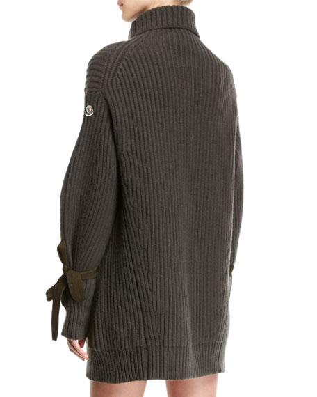 Turtleneck Ribbed Ribbon Sweater Dress
