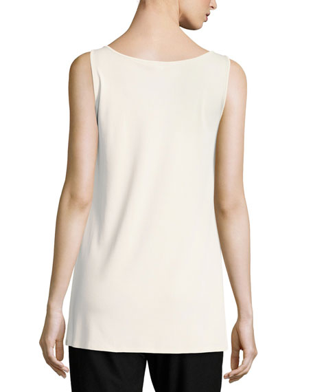 Jersey Sleeveless Scoop-Neck Tunic, Bone
