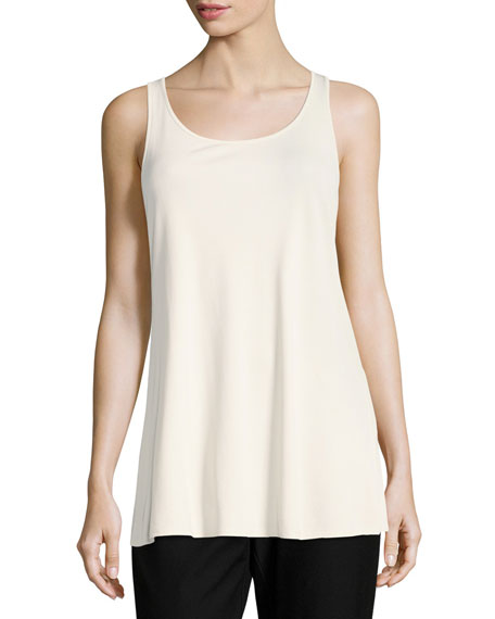 Eileen Fisher Jersey Sleeveless Scoop-Neck Tunic, Bone