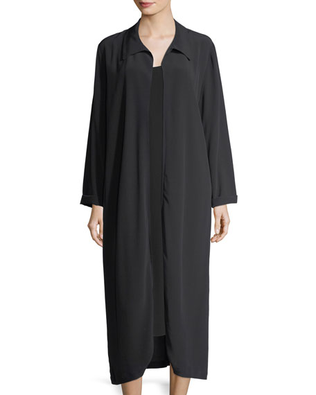 Long Crinkled Crepe Duster Cardigan, Plus Size