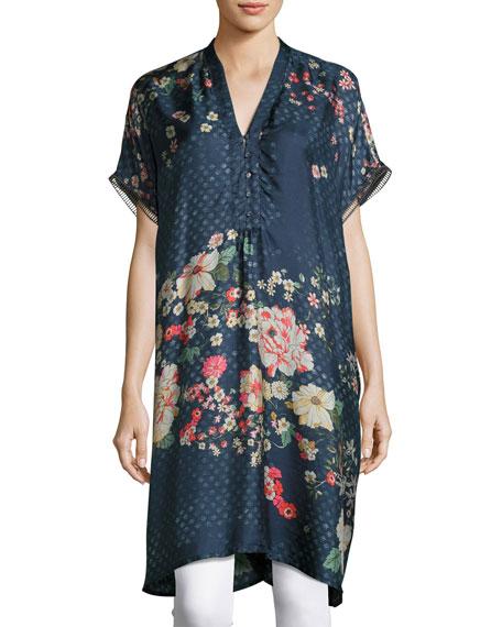 Luda Short-Sleeve V-Neck Silk Twill Printed Tunic, Plus Size