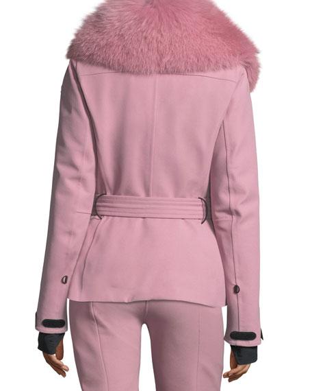Ecrins Long-Sleeve Fur-Collar Jacket