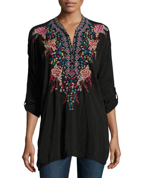 Gemstone Embroidery Long-Sleeve Blouse, Petite