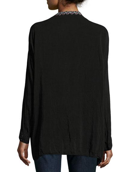 Gemstone Embroidery Long-Sleeve Blouse, Plus Size