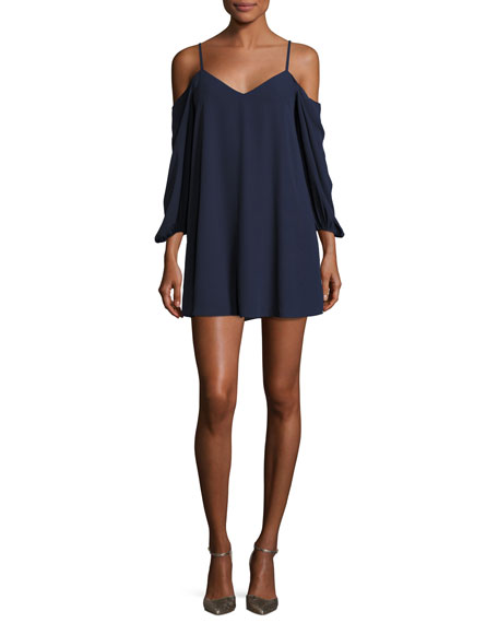 Alice + Olivia Carli Cold-Shoulder Mini Dress, Blue