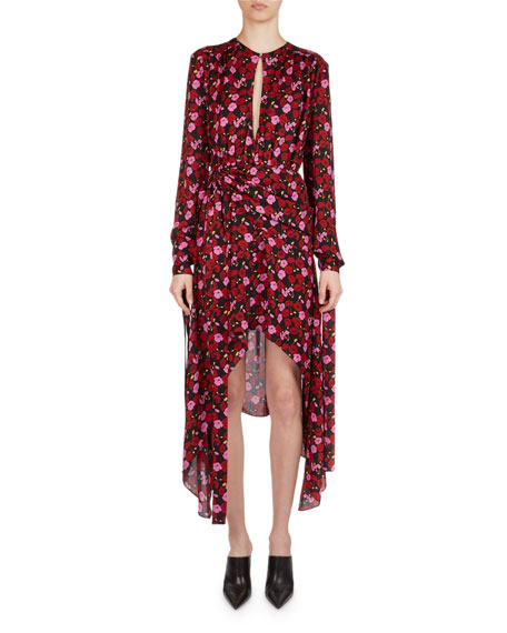 Magda Butrym Gela Floral-Print Silk High-Low Midi Dress