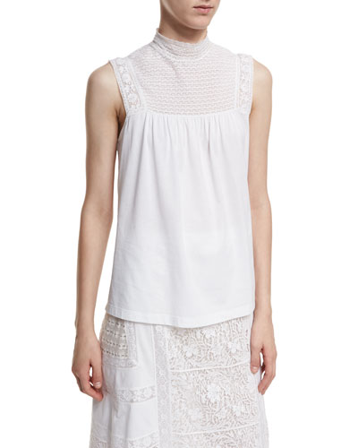 Piero Sleeveless Lace-Panel Top