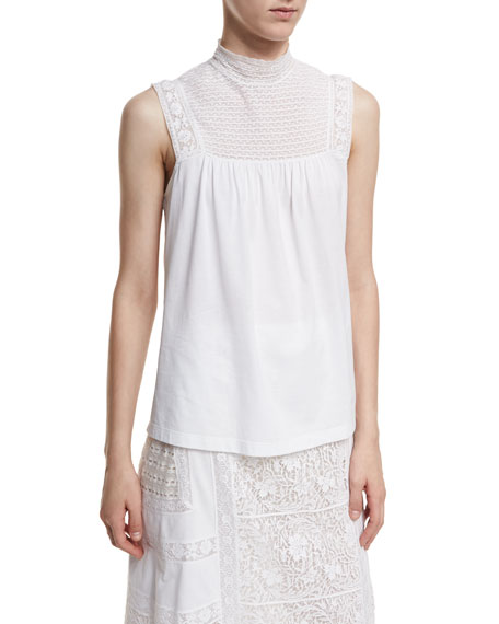 Burberry Piero Sleeveless Lace-Panel Top and Matching Items