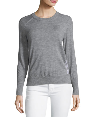 Long-Sleeve Check-Side Sweater Top