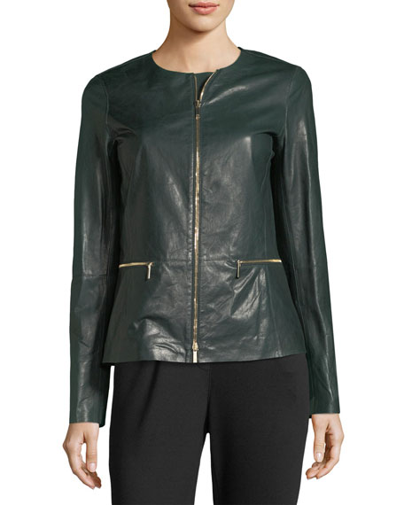 Kerrington Zip-Front Leather Jacket