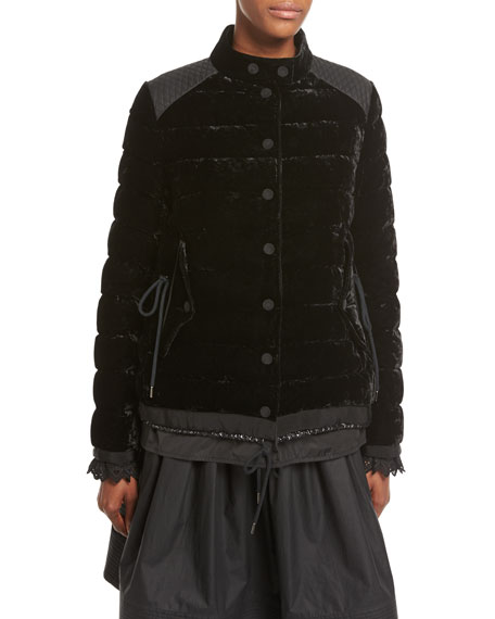 Moncler Beatrice Velvet Quilted Coat, Black