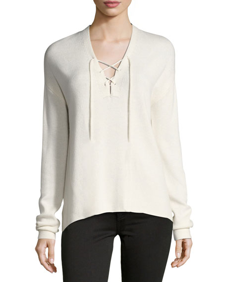 Joie Larken Lace-Up Pullover Sweater, White