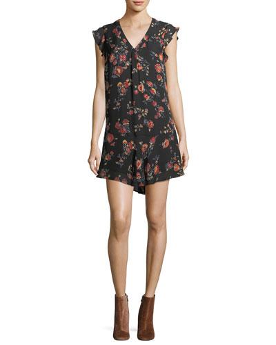 Almarie B V-Neck Silk Shift Dress