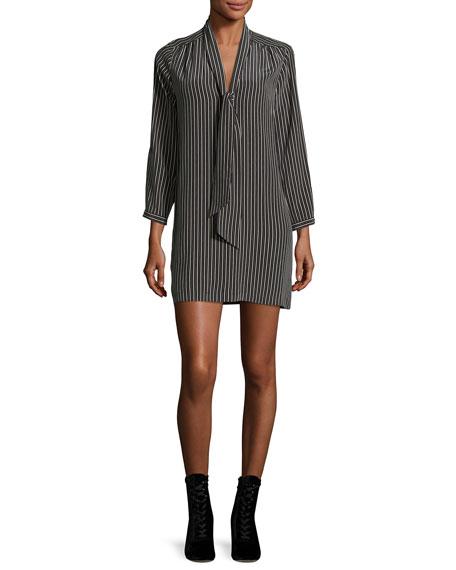 Joie Warley Striped Silk Mini Dress, Black and
