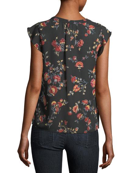 Jentri Floral-Print Short-Sleeve Silk Top