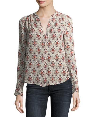 Jamiona Long-Sleeve Printed Silk Blouse