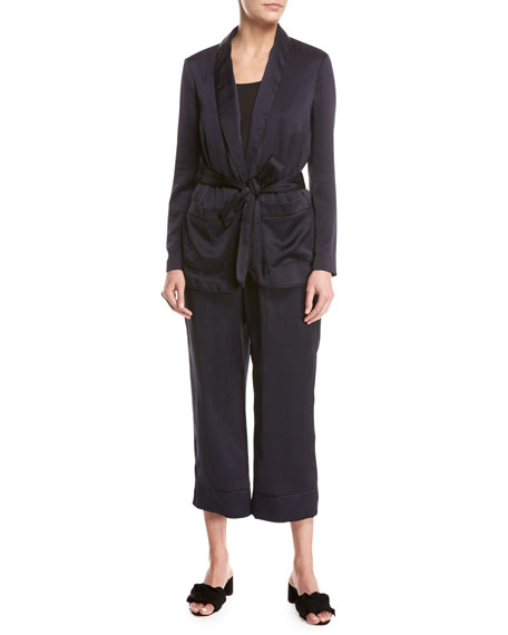 Joie Anasophia Sateen Single-Button Jacket, Navy