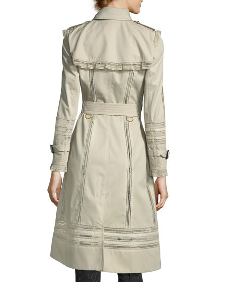 Lace-Trim Double-Breasted Trenchcoat