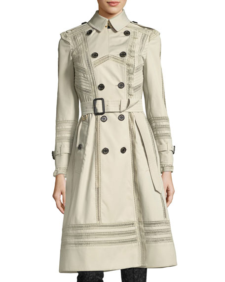 Burberry Lace-Trim Double-Breasted Trenchcoat