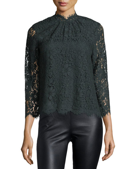 Joie Freyda Mock-Neck Lace Top