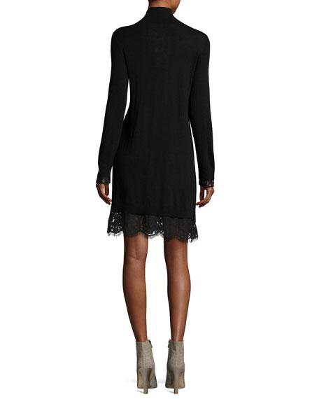 Fredrika B Turtleneck Lace Dress, Black