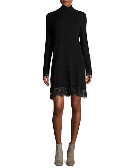 Joie Fredrika B Turtleneck Lace Dress, Black