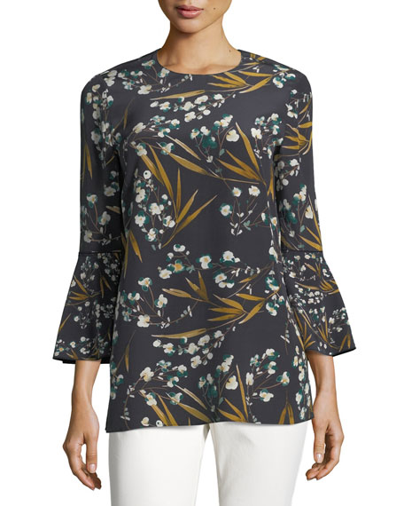 Lafayette 148 New York Sidra 3/4-Bell-Sleeve Moody Floral