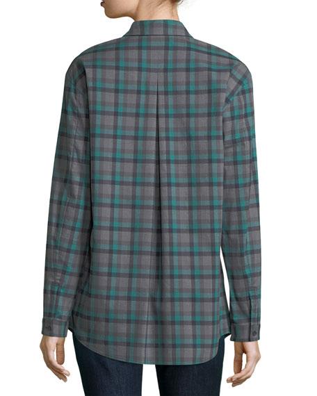Sabira Long-Sleeve Modish Check Button-Front Blouse