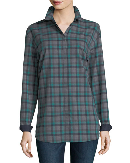 Sabira Long-Sleeve Modish Check Button-Front Blouse