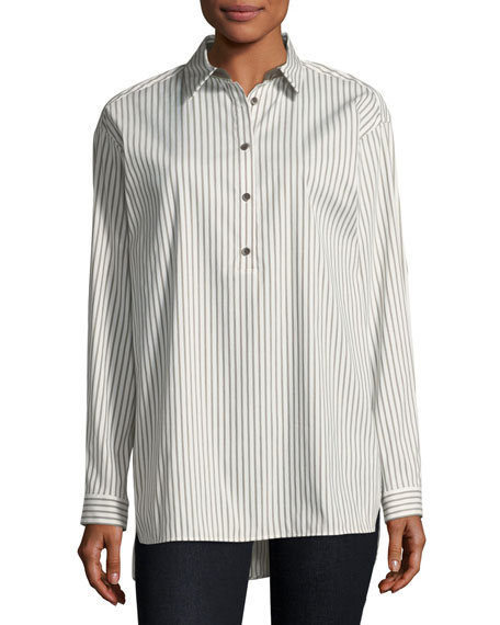 Lafayette 148 New York Kia Long-Sleeve Supreme Stripe