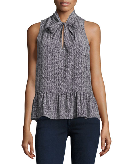 Joie Estero Sleeveless Herringbone Silk Top, Black