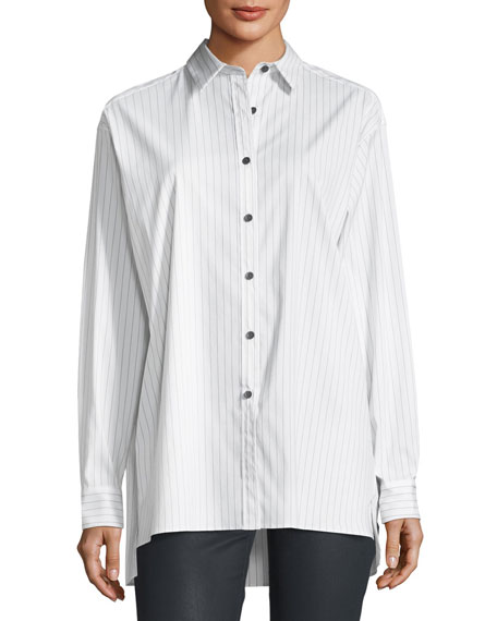 Lafayette 148 New York Jessie Runway Pinstripe Button-Front