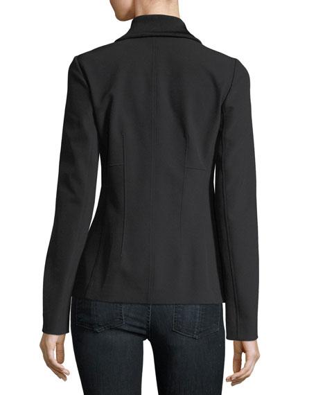 Turtleneck Zip-Front Stretch-Knit Jacket