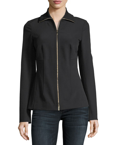 Turtleneck Zip-Front Stretch-Knit Jacket