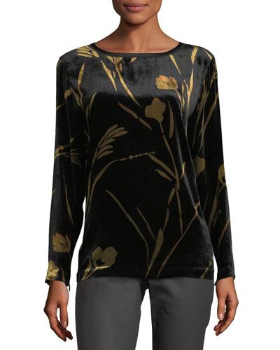 Nessa Long-Sleeve Golden Blooms Floral Velvet Blouse
