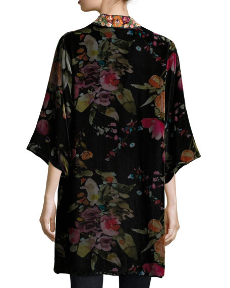 Kehlani Reversible Velvet Kimono W/ Embroidery Trim, Plus Size