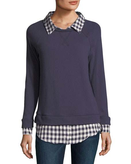 Soft Joie Diadem Combo Sweater w/ Check Shirting